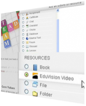Moodle interface integrating with Eduvision