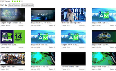 Eduvision thumbnails provide a quick glance at your video library